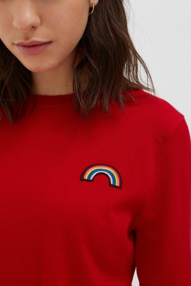 Red Cashmere Rainbow Badge Sweater image 1