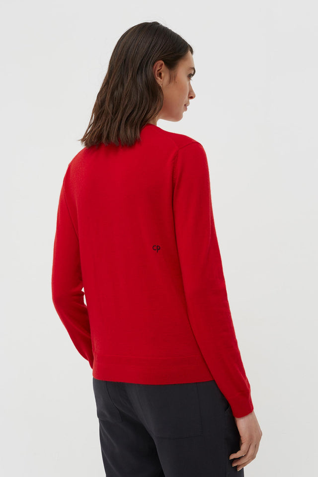 Red Cashmere Rainbow Badge Sweater image 5