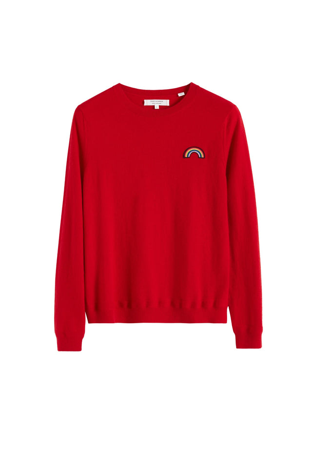 Red Cashmere Rainbow Badge Sweater image 2