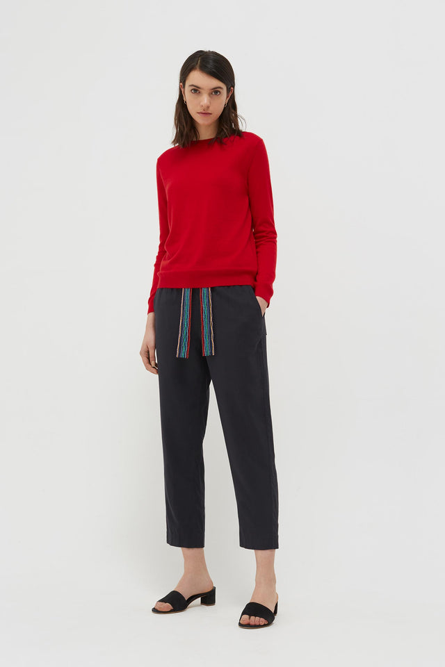 Red Cashmere Crew Cut Sweater image 3