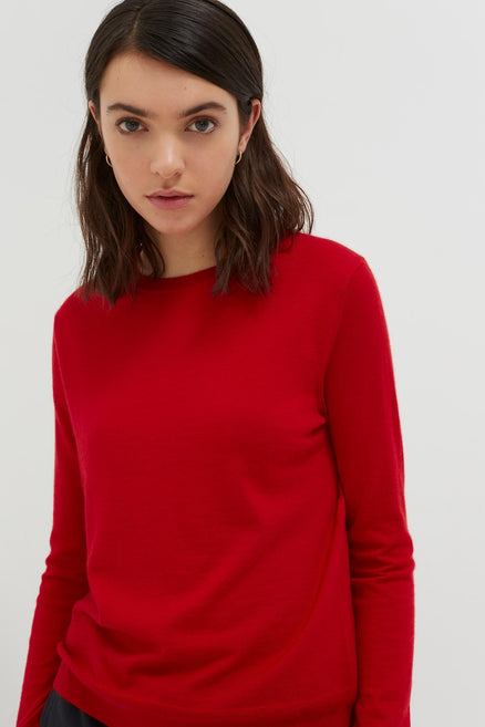 Red Cashmere Crew Cut Sweater