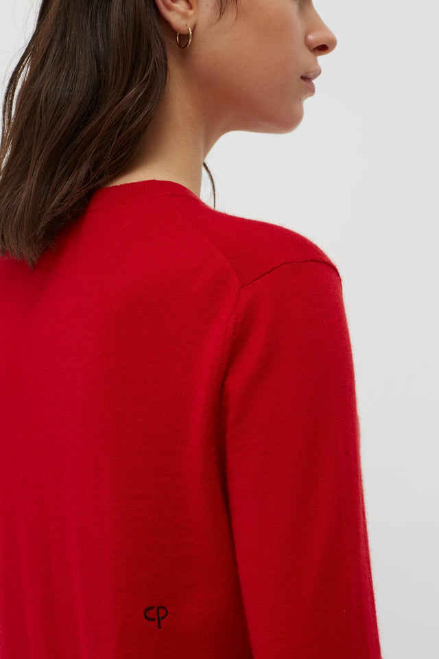 Red Cashmere Crew Cut Sweater image 4