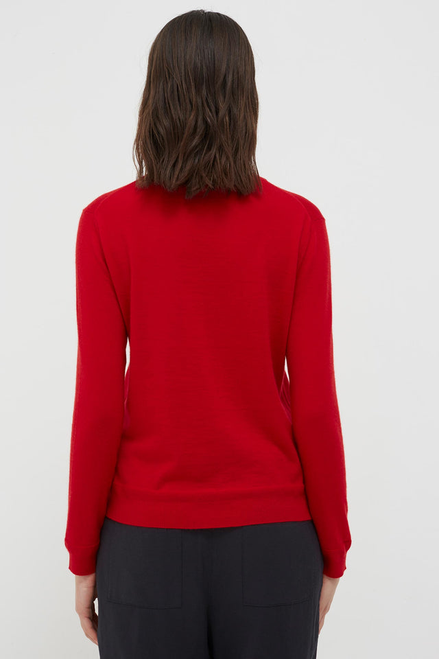 Red Cashmere Crew Cut Sweater image 5