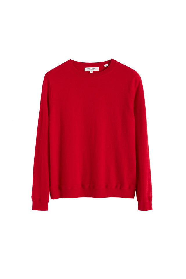 Red Cashmere Crew Cut Sweater image 2