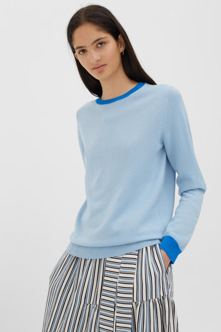Blue Cashmere-Wool Contrast Trim Sweater