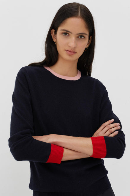 Navy Cashmere-Wool Contrast Trim Sweater