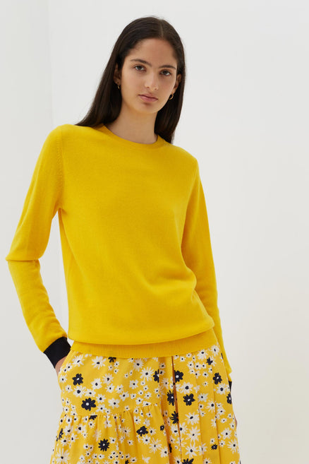 705194839 Yellow Cashmere-Wool Contrast Trim Sweater