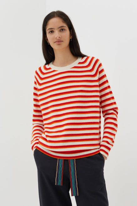 Red Cashmere-Wool Striped Slouchy Sweater