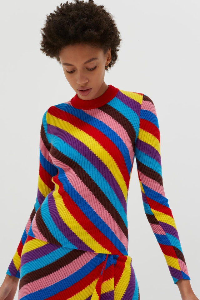 Multicoloured Rib-Knit Cashmere Vanessa Sweater image 3