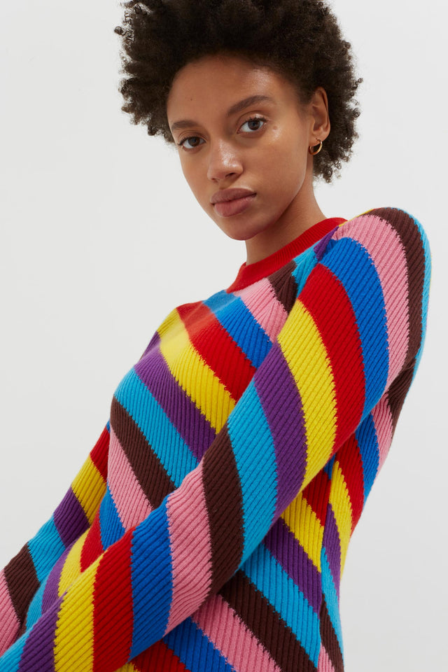 Multicoloured Rib-Knit Cashmere Vanessa Sweater image 6
