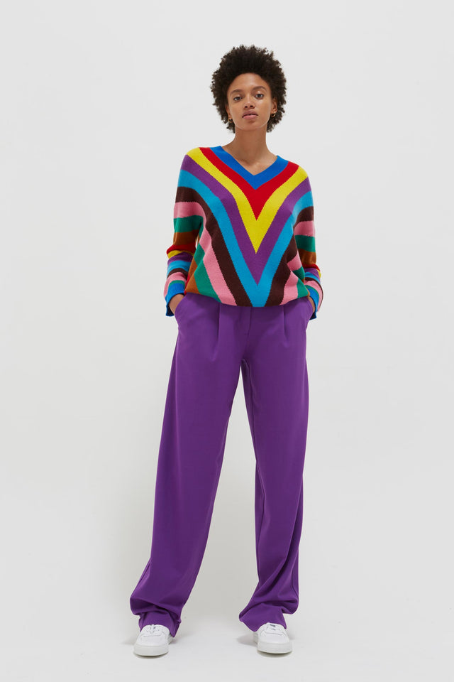 Multicolour Virginia Striped Wool-Cashmere Sweater image 4