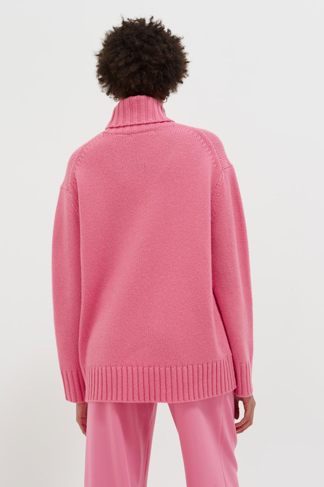 Pink Luxury Cashmere Rollneck Sweater image 5