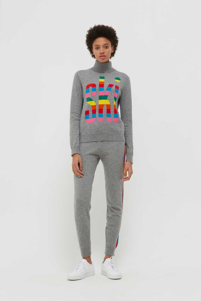 Grey Cashmere Roll Neck Ski Sweater image 6