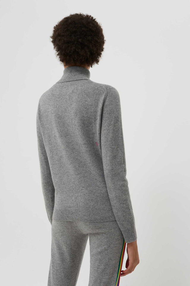 Grey Cashmere Roll Neck Ski Sweater image 4