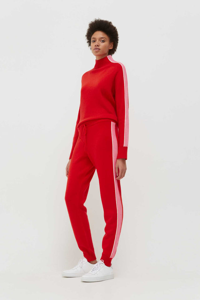 Red Ripple Wool-Cashmere Track Pants image 5