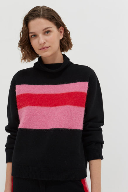 model shot of black-alpaca-striped-merino-cashmere-turtleneck fluffy stripe, funnel neck and cropped From Chinti & Parker
