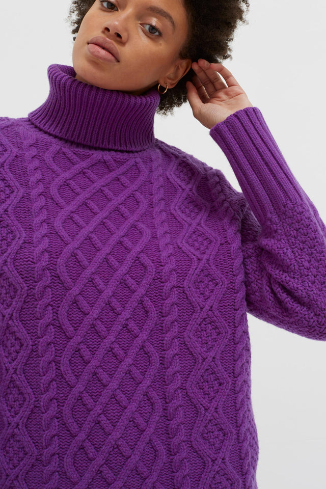 Purple Pop Aran Merino Wool Sweater image 6