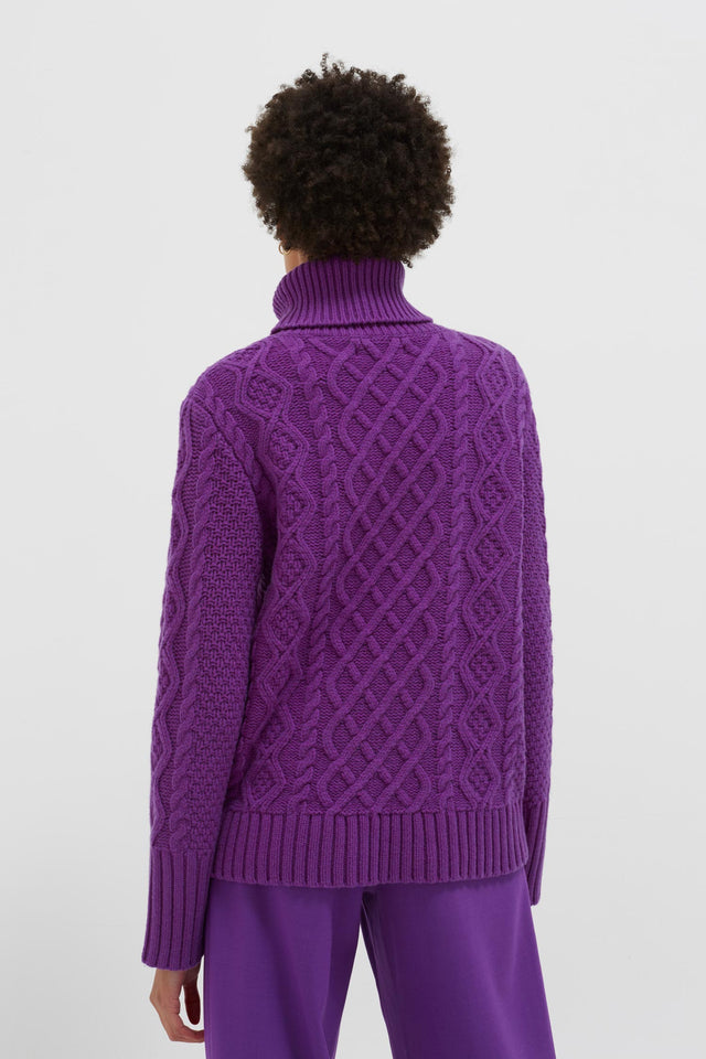 Purple Pop Aran Merino Wool Sweater image 5