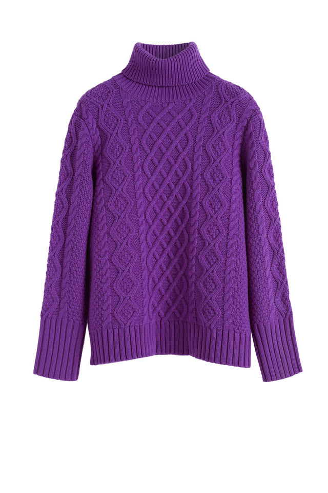 Purple Pop Aran Merino Wool Sweater image 2