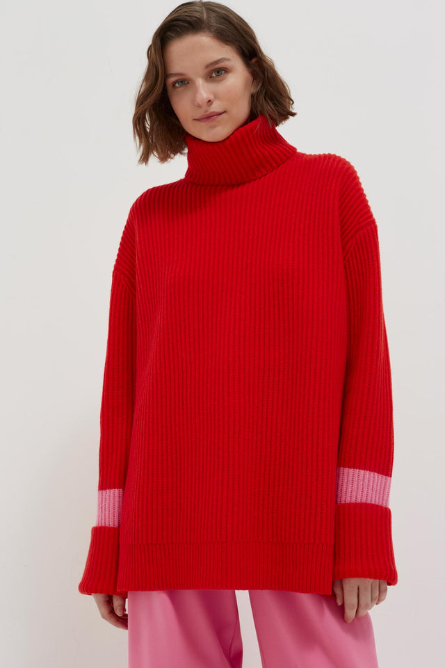 Red Rib Merino Wool Rollneck Sweater image 1