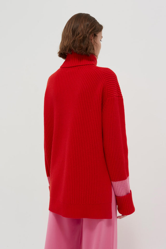 Red Rib Merino Wool Rollneck Sweater image 5