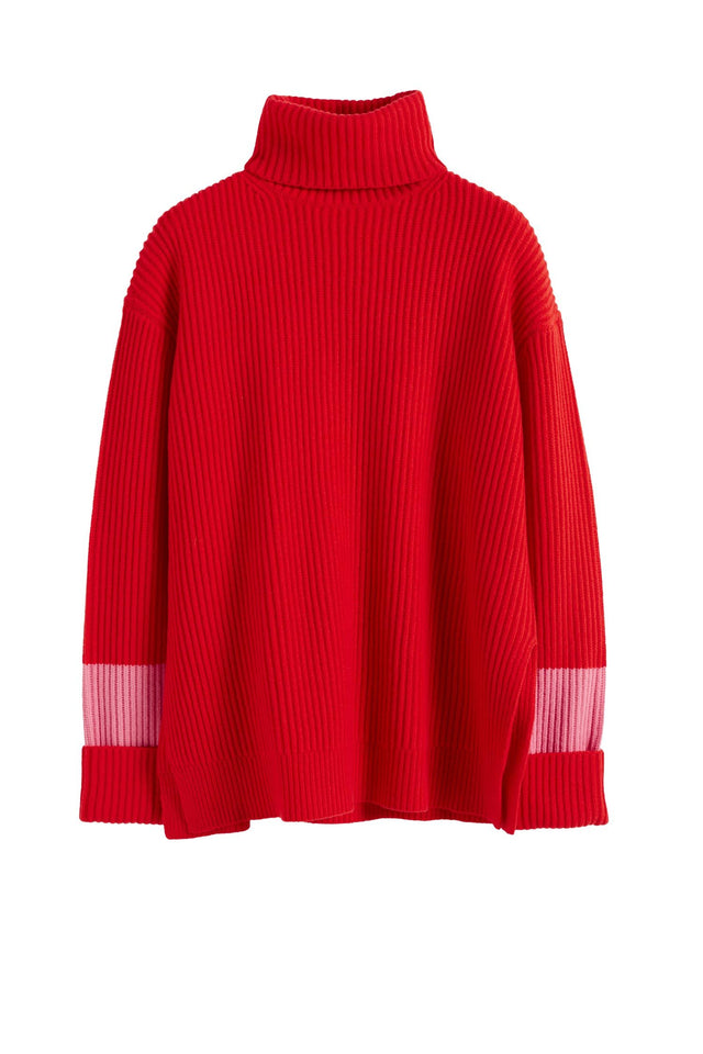 Red Rib Merino Wool Rollneck Sweater image 2