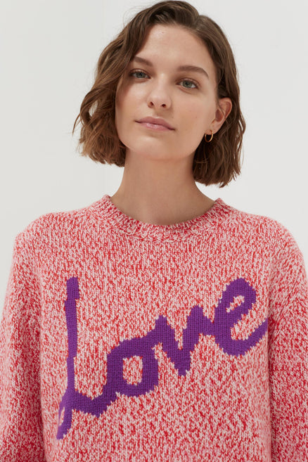 model shot of pink-dalloway-love-merino-wool-sweater knit with mouliné technique and embroidered From Chinti & Parker
