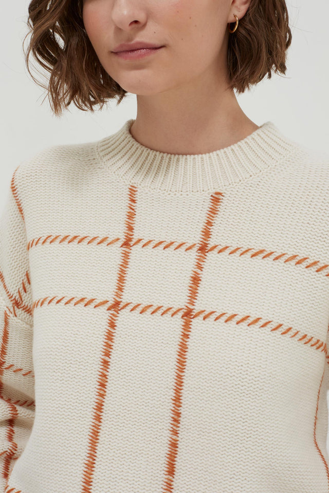 Cream Contrast Check Merino Wool Sweater image 4