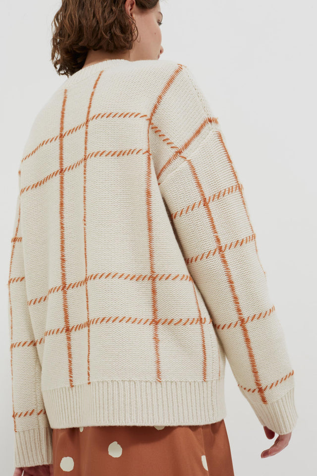 Cream Contrast Check Merino Wool Sweater image 5
