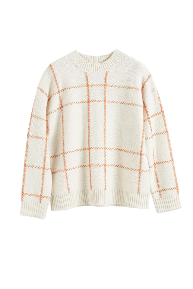 Cream Contrast Check Merino Wool Sweater image 2