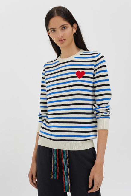 Blue Cashmere Stripe Heart Sweater