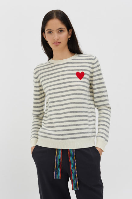 Grey Cashmere Stripe Heart Sweater