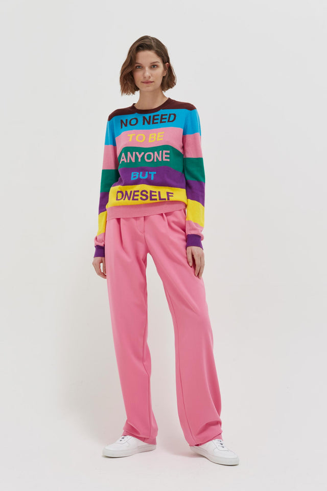 Multicolour Oneself Striped Cashmere Sweater image 3