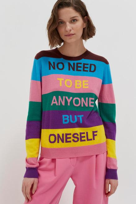 multicolour-oneself-striped-cashmere-sweater Virginia Woolf quote 'No need to be anyone but oneself' From Chinti & Parker