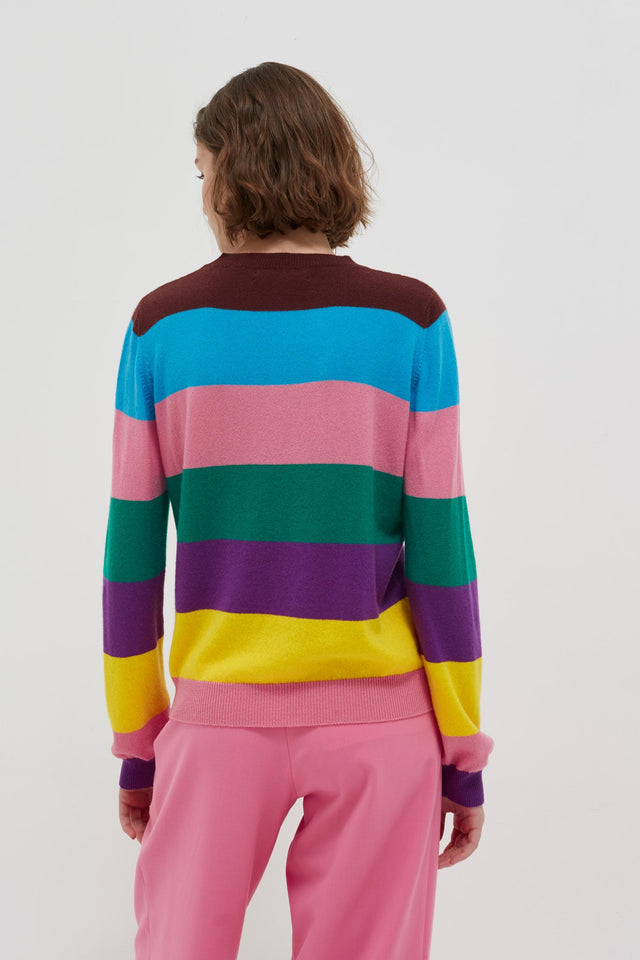 Multicolour Oneself Striped Cashmere Sweater image 4