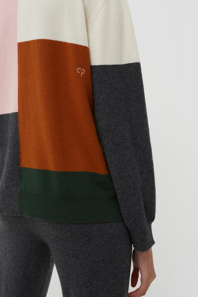 Pink Colour Block Wool-Cashmere Sweater image 5
