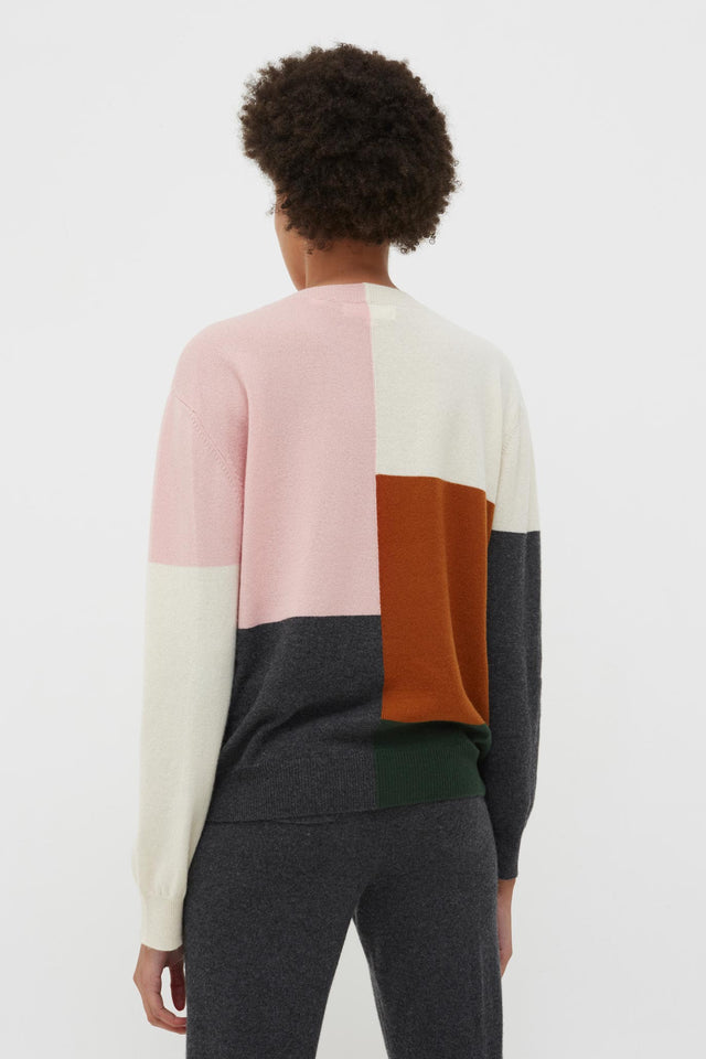 Pink Colour Block Wool-Cashmere Sweater image 4