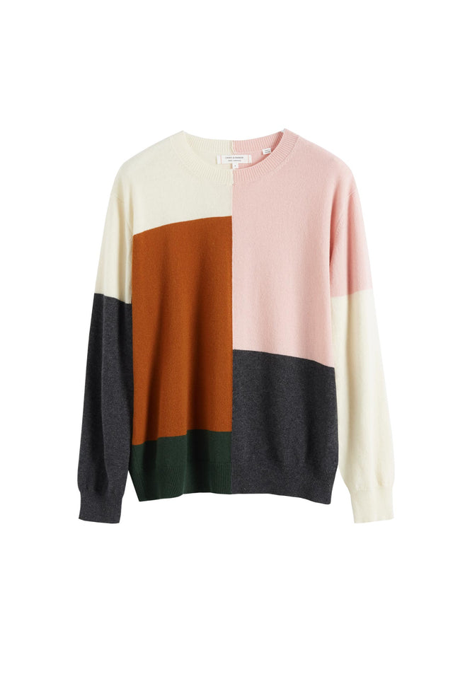 Pink Colour Block Wool-Cashmere Sweater image 2