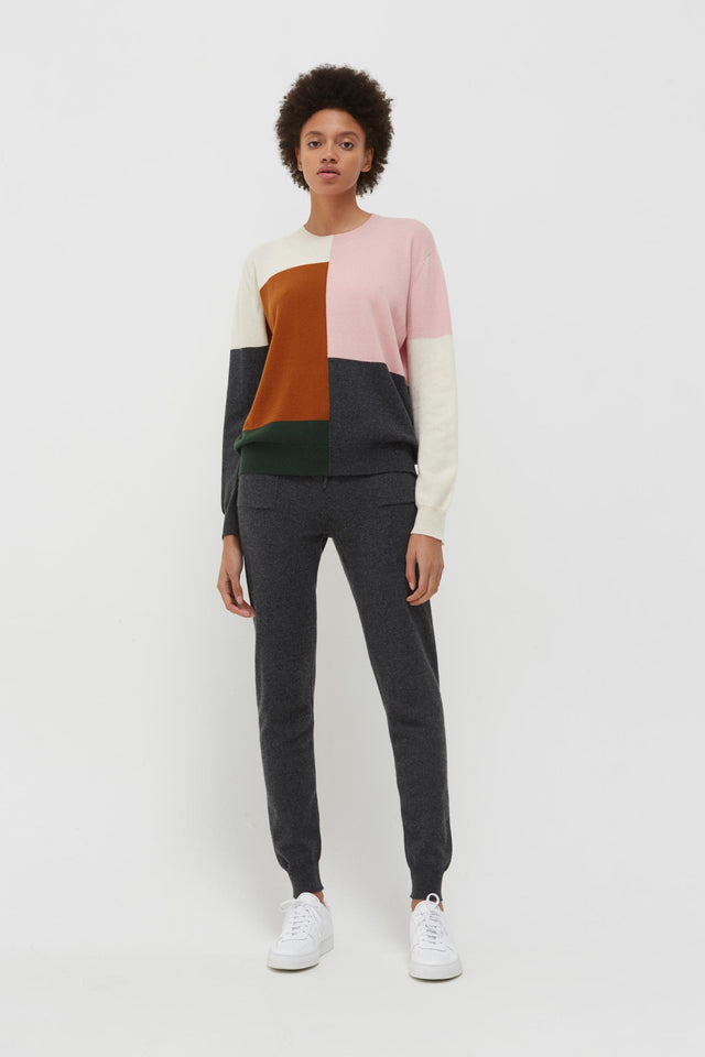 Pink Colour Block Wool-Cashmere Sweater image 3