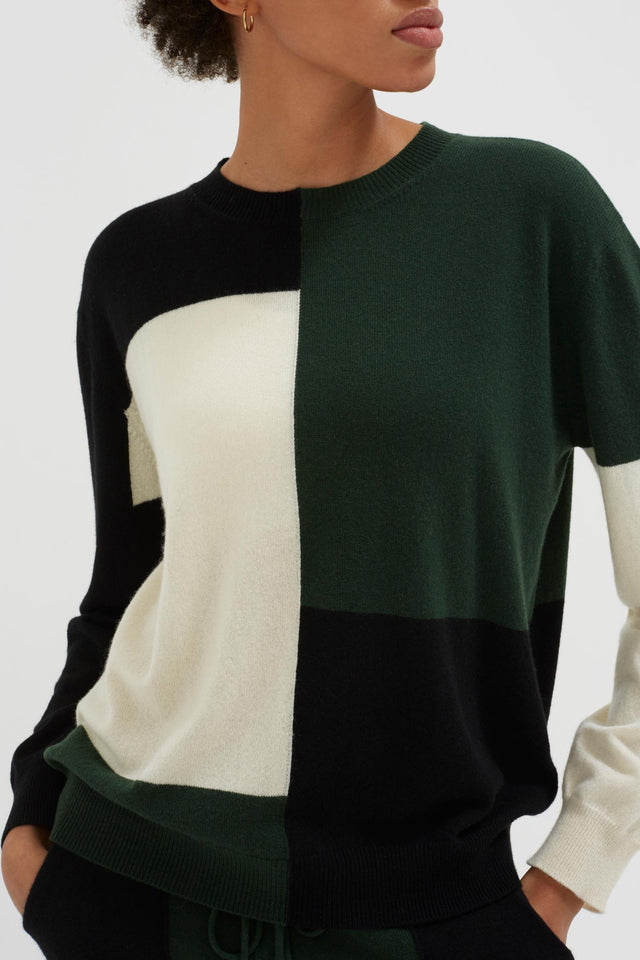 Black Colour Block Wool-Cashmere Sweater image 5