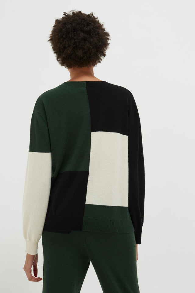 Black Colour Block Wool-Cashmere Sweater image 4