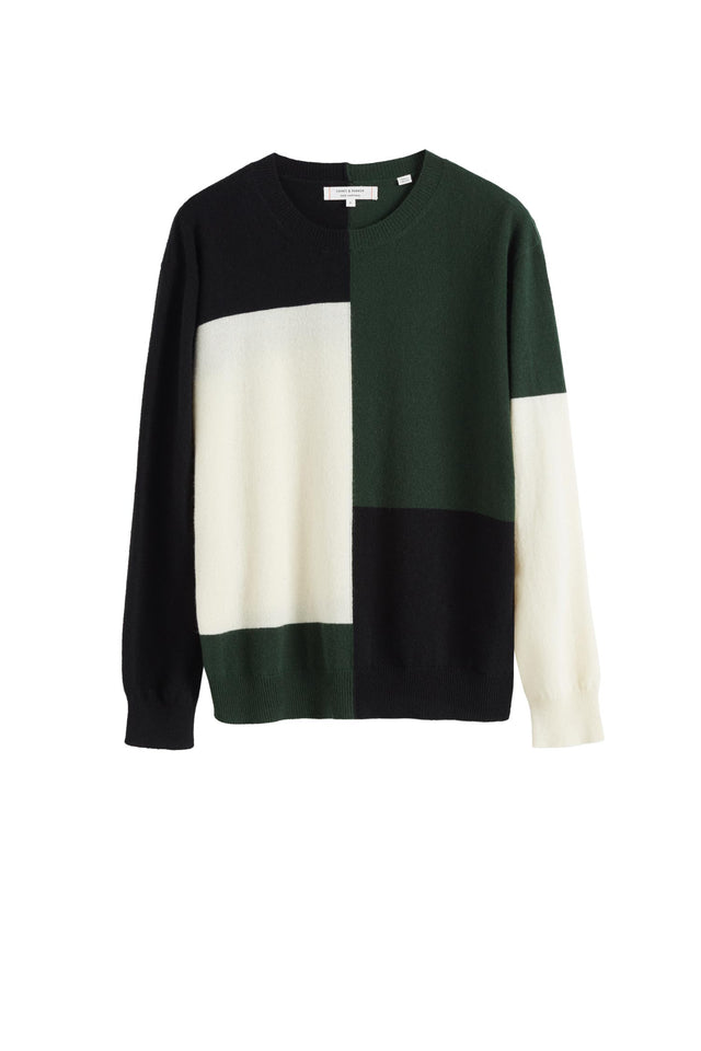 Black Colour Block Wool-Cashmere Sweater image 2