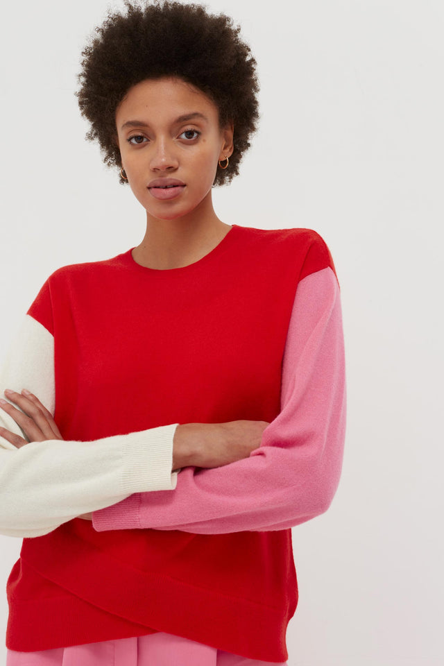 Red Cross Hem Cashmere Sweater image 1