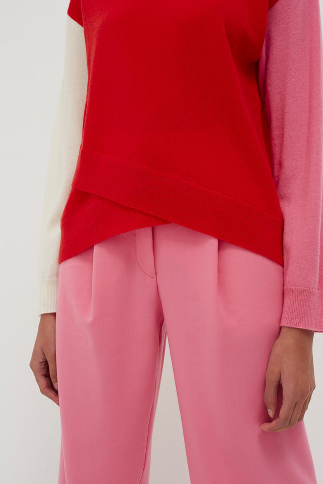 Red Cross Hem Cashmere Sweater image 4