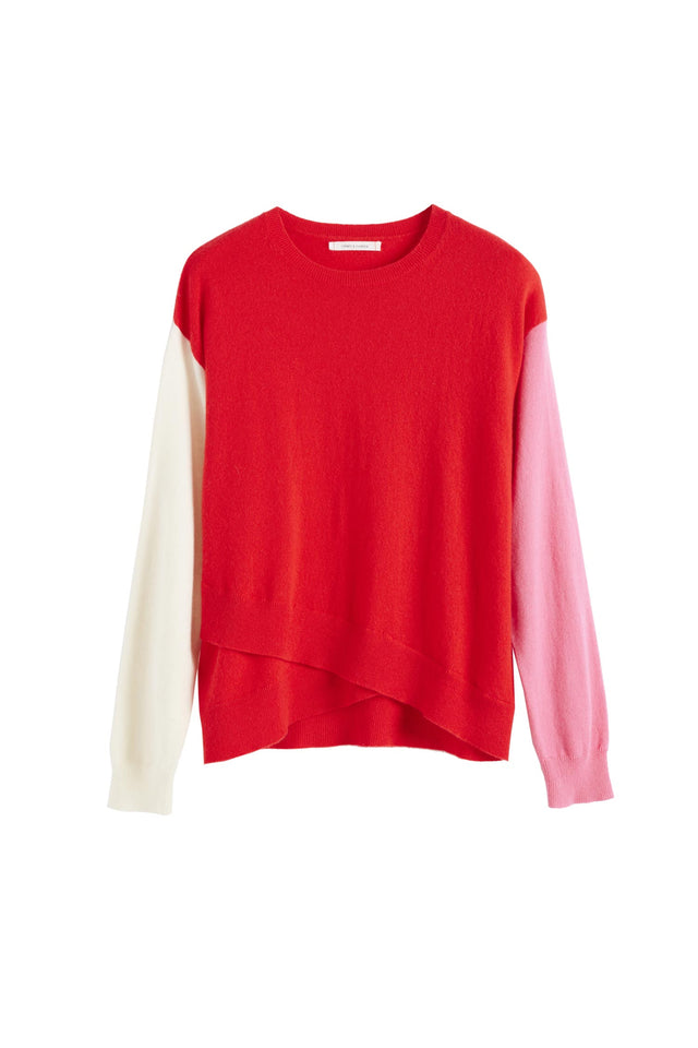 Red Cross Hem Cashmere Sweater image 2