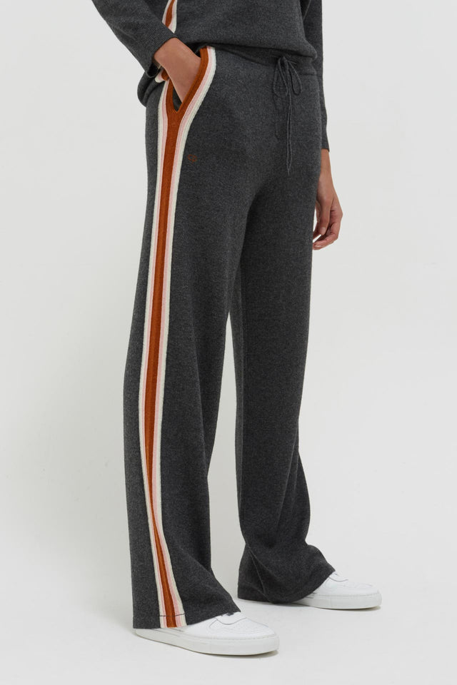 Grey Heritage Stripe Wool-Cashmere Track Pants image 1