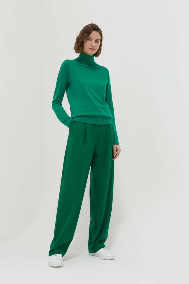 Green Rollneck Cashmere Pop Sweater image 3