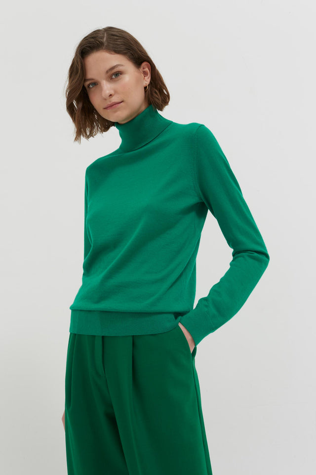 Green Rollneck Cashmere Pop Sweater image 1