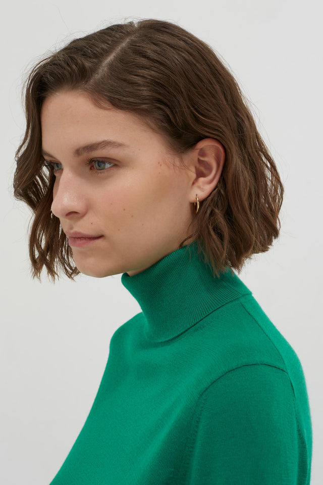 Green Rollneck Cashmere Pop Sweater image 5