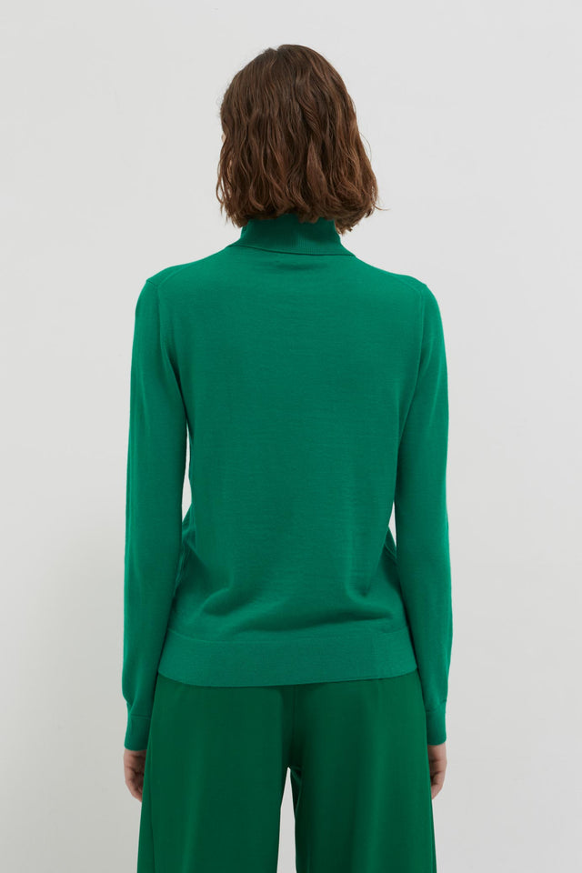 Green Rollneck Cashmere Pop Sweater image 4